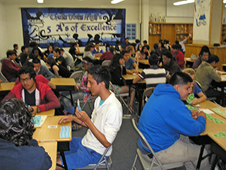 Chula-Vista High students playing in a bridge tournament