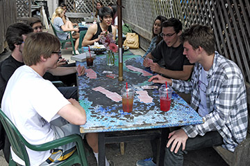 La Jolla High students playing bridge at Pannikin coffee house in La Jolla