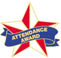 red and white five pointed star with blue ribbon with Attendance Award written on it