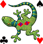 Gecko with suit symbols at each corner